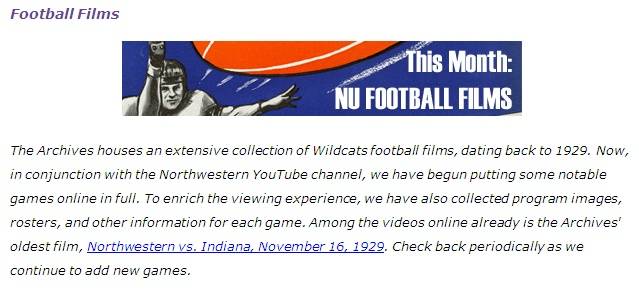 Fig. 3. Blog post announcing first of digitized football game films