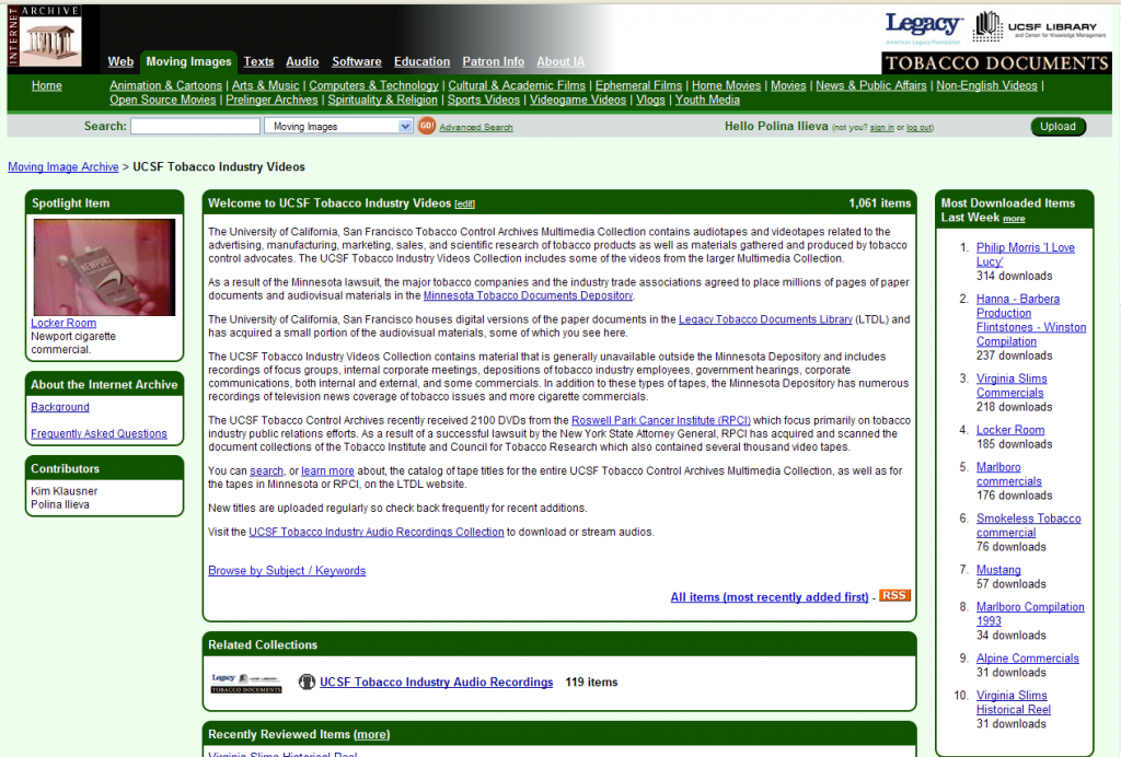 Fig. 2. The Internet Archive, UCSF Tobacco Industry Videos home page (available at http://www.archive.org/details/tobaccoarchives (accessed June 16, 2009)).