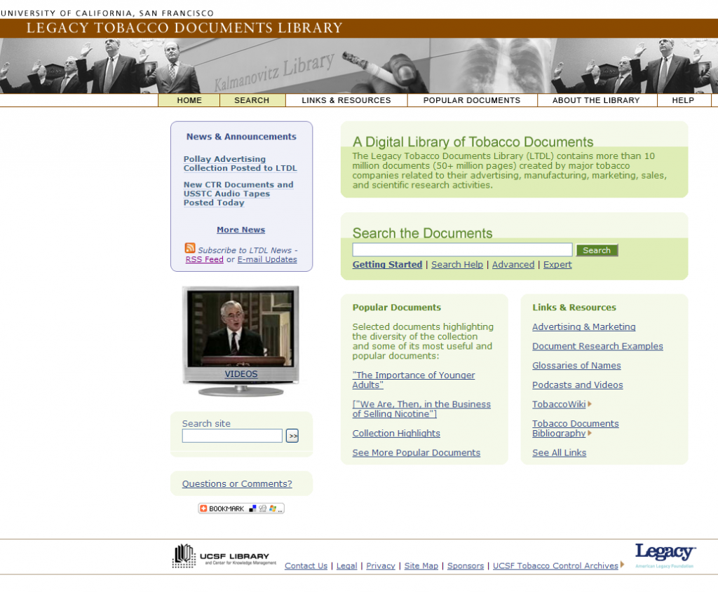 Fig. 1. The Legacy Tobacco Documents Library (LTDL) home page (available at http://legacy.library.ucsf.edu/ (accessed June 16, 2009)).