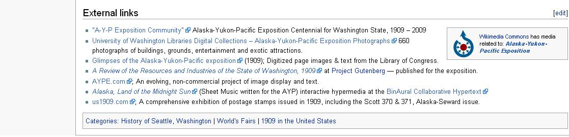 Fig. 2. External links section of the Alaska–Yukon–Pacific Exposition article in Wikipedia
