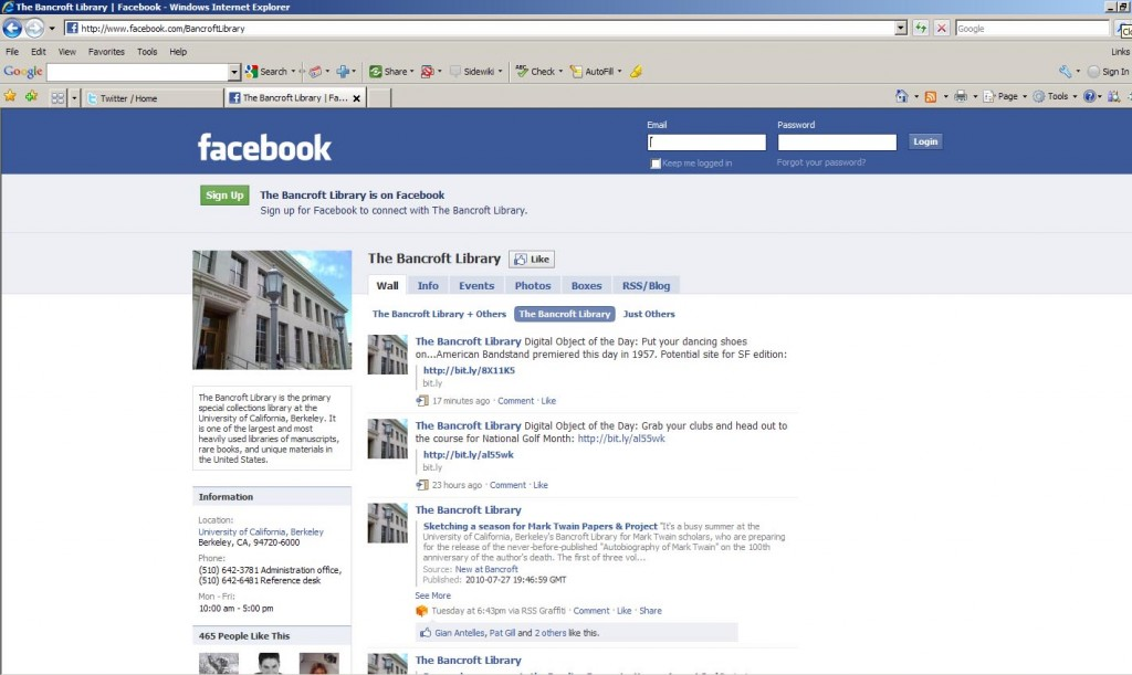 Fig. 1. Bancroft Library Facebook page screenshot