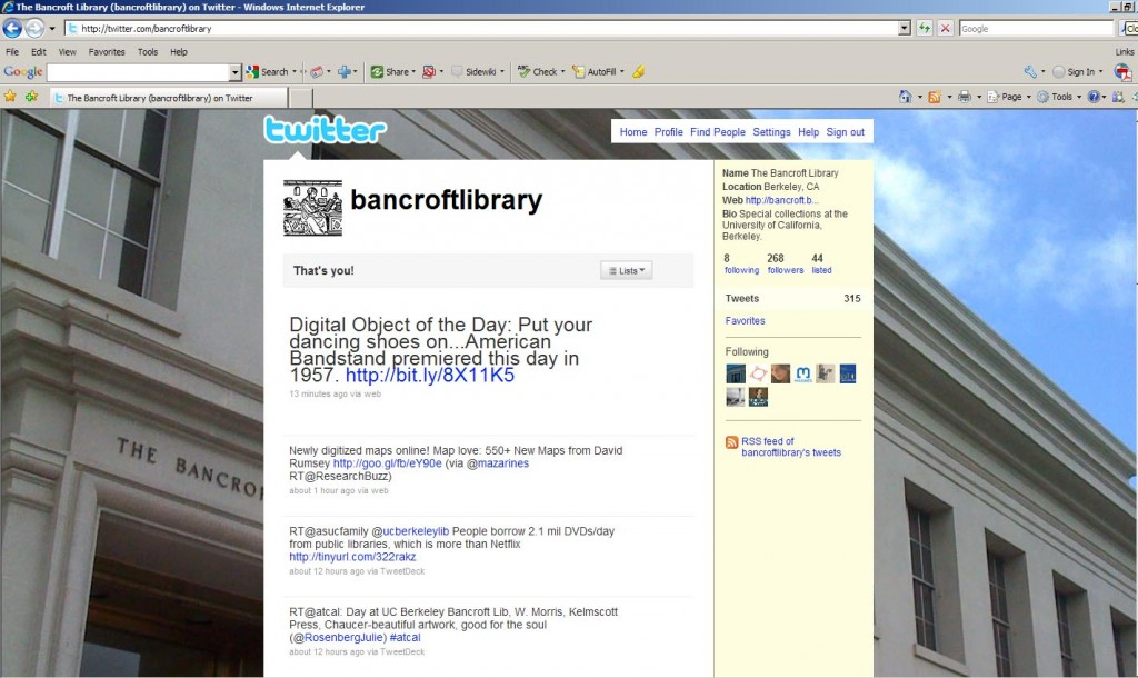 Fig. 2. Bancroft Library Twitter page screenshot