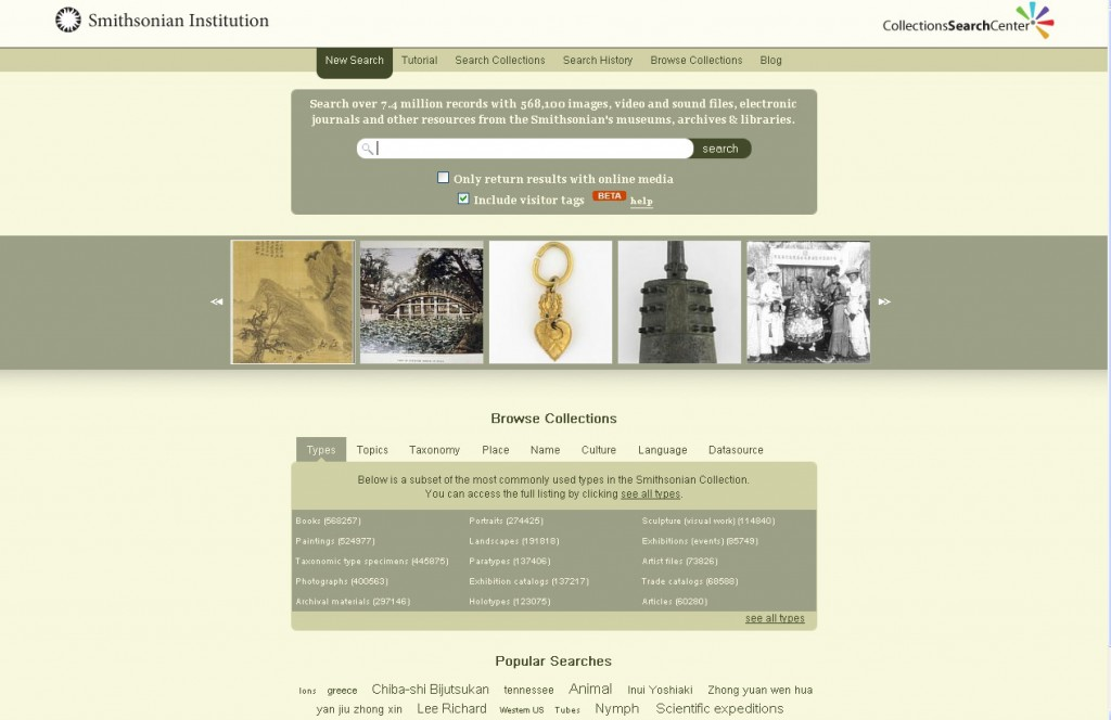 Fig. 2. The Smithsonian Institution's Collections Search Center