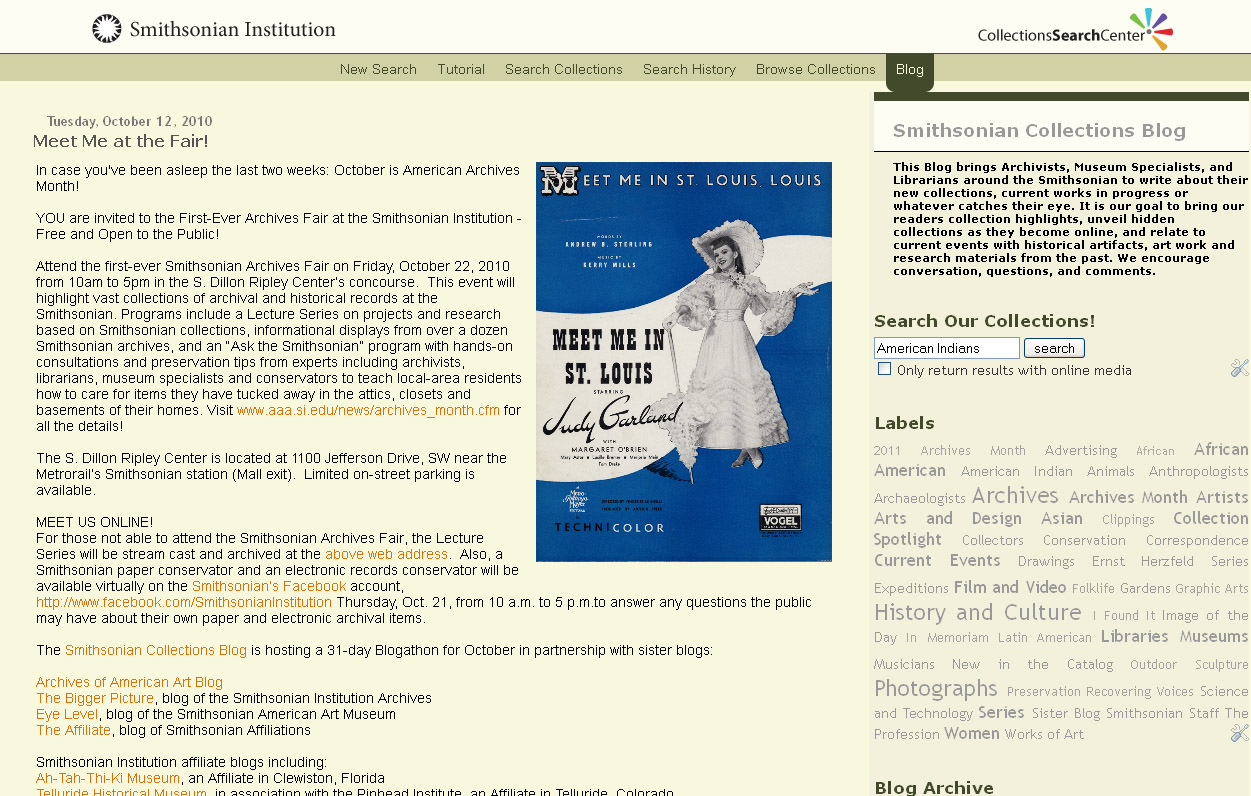 Fig. 1. Smithsonian Collections Blog to show branding identical to the Smithsonian Institution's Collections Search Center